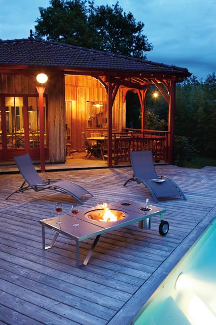 brasero sur terrasse bois