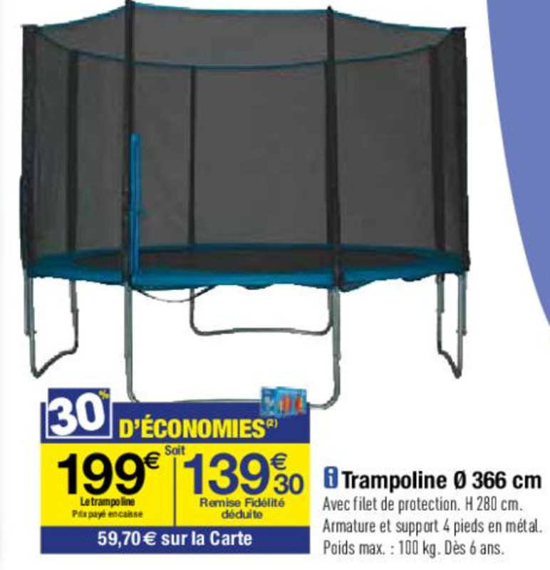 carrefour trampoline avec filet