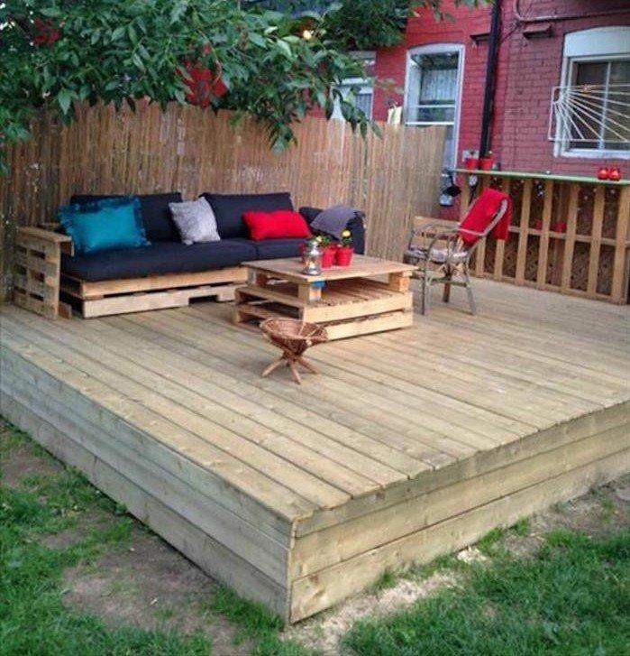 meuble de terrasse en palette - Agencement de jardin aux meilleurs prix