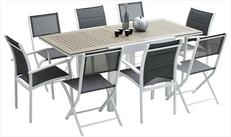Salon de jardin alu et bois composite pas cher - Table de jardin alu et bois composite ...