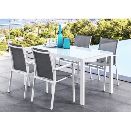 table de jardin aluminium plateau verre - Agencement de ...