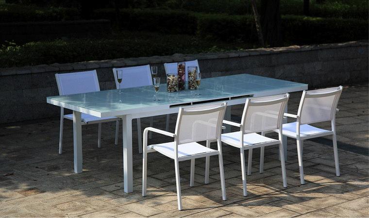 Table De Jardin Aluminium Plateau Verre Agencement De Jardin Aux