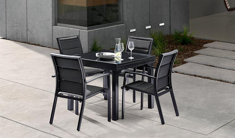 Table de jardin noire extensible agencement de jardin aux meilleurs prix - Agencement jardin ...