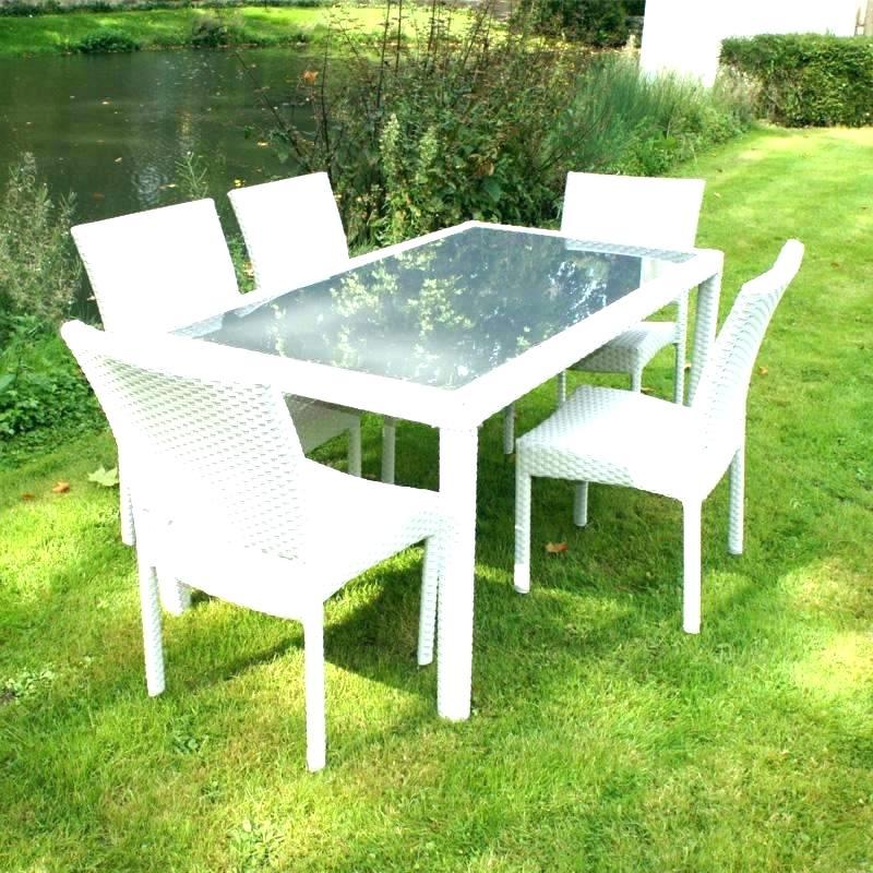 table et chaise de jardin en resine blanc - Agencement de ...