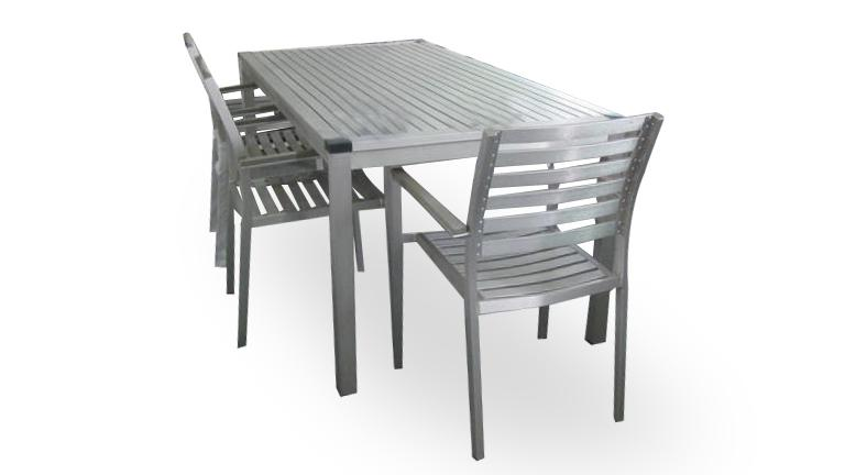 Table et chaises de jardin en aluminium agencement de - Table et chaise de jardin plastique ...