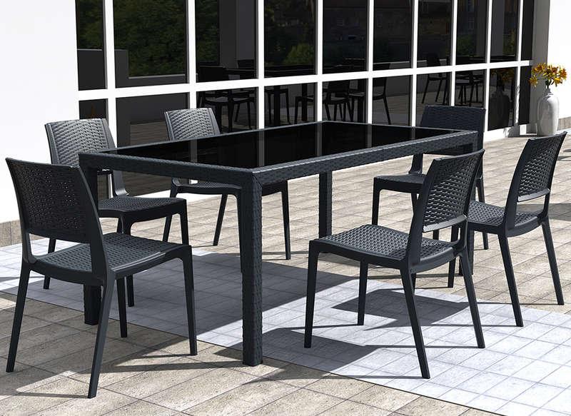 table et chaises de jardin en resine tressee