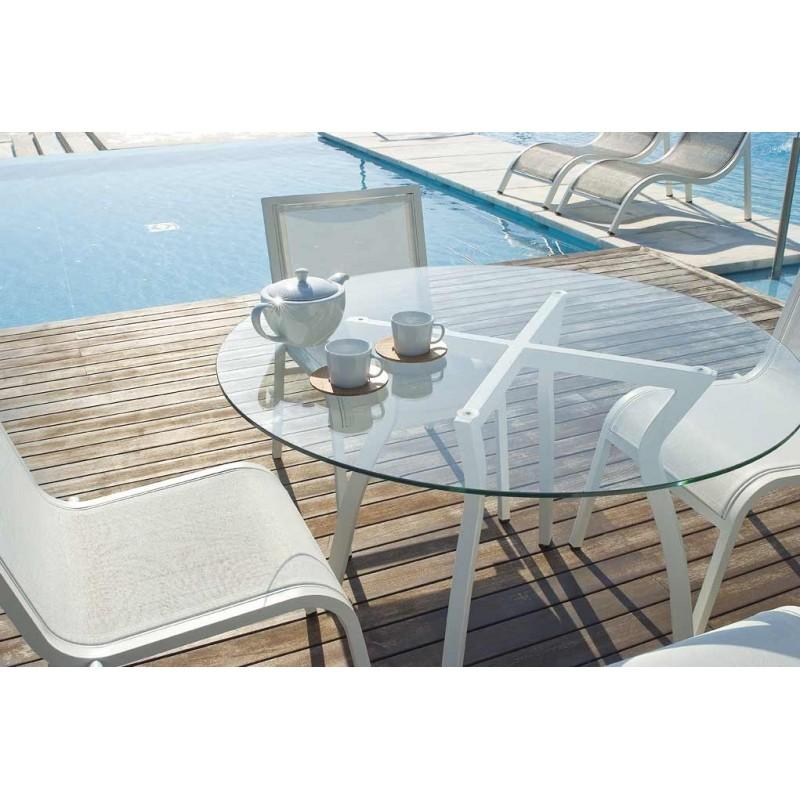 table ronde alu et verre - Agencement de jardin aux ...